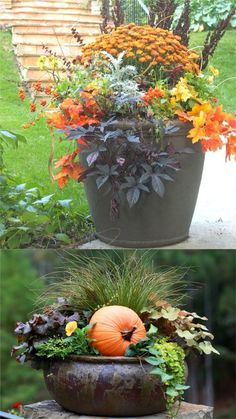 22 gorgeous fall planters for Thanksgiving & fall decorations: best fall flowers for pots, & great autumn planter ideas with mums, pumpkins, kale, & more! - A Piece of Rainbow #fall #falldecor #autumn #outdoor #backyard #curbappeal #diy #homedecor #homedecorideas #diyhomedecor #thanksgiving #planters #pots #farmhouse #farmhousestyle #farmhousedecor #holiday #gardens #patio #porch