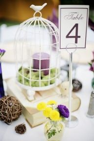 The centerpieces will be a vintage metal bird cage surrounded by vintage tea cups filled with turquoise hydrangea, small purple succulents, pink ranunculus, purple sweet peas, dusty miller, silver brunia, and balsa wood flowers. Surrounded by silver mercury glass votives #centerpiece #weddings