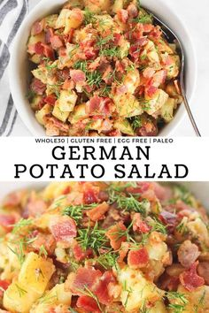 Hot German Potato Salad – Finished with Salt Hot German Potato Salad is an easy healthy and simple side dish that's perfect eaten both warm or cold! It's made in under 30 minutes and is naturally gluten free, dairy free, egg free and Paleo Side Dishes, Gluten Free Sides Dishes, Side Dishes For Bbq, Potato Side Dishes, Side Dish Recipes, Simple Side Dishes, German Side Dishes, Kitchen Recipes, Paleo Recipes