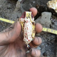 Figurine possibly religious from the bottom of the 1830- c.1880 tenement privy #dignorth #archaeology #Boston