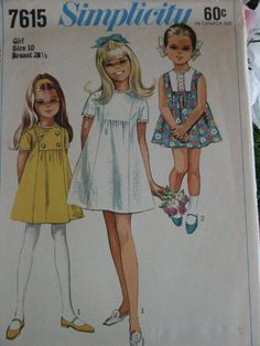 Vintage 1970 Simplicity Child Girl's Gathered Front Insert Holiday Party 7615 Sewing Pattern Size 10. $6,50, via Etsy.