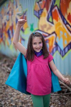 Children SUPER HERO Cape Birthday gift blank reversible Costume GIRLS - great birthday party present birthday gift