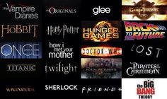 Vampire Diaries, Hobbit, Glee, Harry Potter, Once Upon a Time, Twilight, Friends. If only Walking Dead was on here that would sum up my life.