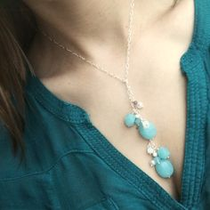 Elegant seafoam blue green lariat necklace. Lovely mint green amazonite stones are a perfect summer color! This lariat necklace is perfect for dressing up a simple everyday outfit, or would make wonderful fancy jewelry for a special occasion too! Handmade necklace by Bethany Rose Designs. See more handcrafted jewelry at www.BethanyRoseDesigns.etsy.com