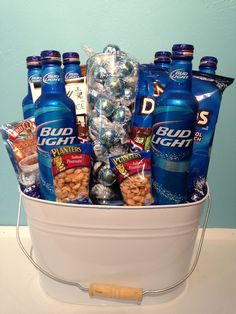 Bud Light Bucket – Tyler's Gift Baskets of Tallahassee, LLC – Lovely Gifts Alcohol Gift Baskets, Liquor Gift Baskets, Gift Baskets For Men, Alcohol Gifts, Camping Gift Baskets, Bud Light, Fundraiser Baskets, Raffle Baskets, Beer Basket