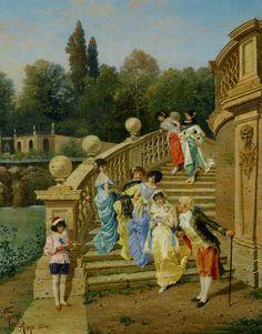 """""""Count Borromeos Villa on Isola Betta Opposite Stresa on Late Magiore"""" (1882) by Filippo Indoni (1842-1908)."""