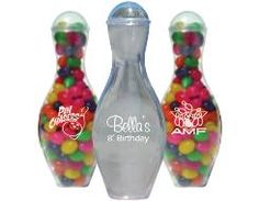 Blank or Custom Imprinted Mini Bowling Pins Party Favors with Your Logo or Custom Design. Empty or filled with candy.