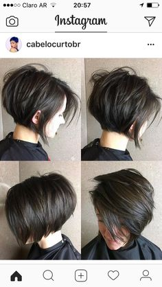 Short Layered Brunette Bob bob haircuts with layers thick hair 70 Cute and Easy-To-Style Short Layered Hairstyles Bob Haircuts For Women, Short Bob Haircuts, Hairstyles Haircuts, Cool Hairstyles, Layered Hairstyles, Stacked Haircuts, Short Dark Hairstyles, Wedding Hairstyles, Medium Hairstyles
