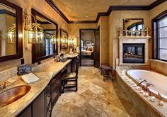 Luxury bathroom. Love the fireplace. [ HGNJShoppingMall.com ] #bathroom #shop #deals