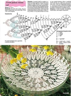 Вязаные салфетки и мелочи для дома Crochet Bowl, Crochet Chart, Cute Crochet, Crochet Motif, Crochet Doilies, Crochet Flower Patterns, Crochet Designs, Crochet Decoration, Crochet Tablecloth