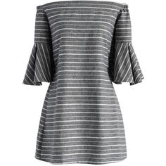 Chicwish Grey Striped Off-shoulder Dress with Bell Sleeves (56,265 KRW) ❤ liked on Polyvore featuring dresses, платья, grey, grey dress, gray dress, off shoulder dress, stripe dresses and grey stripe dress