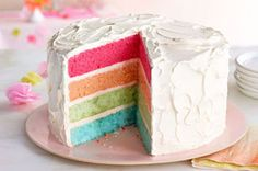 Rainbow Layer Cake #recipe: A colourful way to wow your party guests.