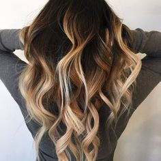 High contrast hand painted balayage sombre done by owner Kit - Yelp Ombre Blond, Brown Blonde Hair, Black Hair, Hair Color And Cut, Ombre Hair Color, Hair Colors, Love Hair, Gorgeous Hair, Coiffure Hair