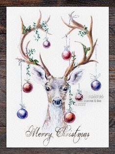Funny deer with Xmas balls Merry Christmas Card Set of 4 Christmas Cards Xmas blank Cards Funny deer with Xmas balls Merry Christmas Card Set of 4 Christmas Cards Xmas blank Cards Alena V anelava nbsp hellip painting for mom Watercolor Christmas Cards, Christmas Drawing, Christmas Paintings, Watercolor Cards, Watercolor Paintings, Christmas Cards Illustration, Xmas Drawing, Christmas Sketch, Watercolour Illustration