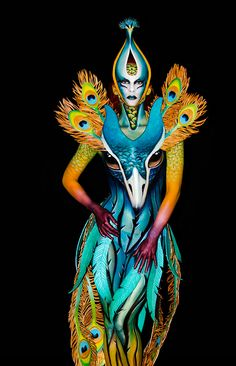 """""""Pavonia"""" Demo BP made at Cosmoprof Bologna 2018 Drag, Make Up Art, Fantasy Paintings, Fantasy Makeup, Face Art, Painting Inspiration, Wearable Art, Creative Costumes, Special Effects Makeup"""