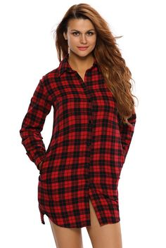 Women Black Red Long Sleeves Plaid Shirt Dress MB22848-3 – ModeShe.com
