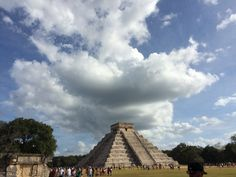 Chichen Itza. Truly an amazing sight! The Mayans actually built this! #mayans #chichenitza #mayans #amazing #sevenwondersofthwworld #clouds #vacation