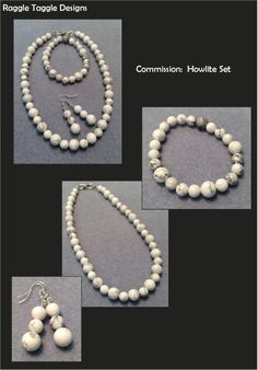 A simple but elegant commission in natural Howlite. Necklace, Bracelet and Earring Set Earring Set, Pearl Necklace, Jewelry Design, Pearls, Elegant, Natural, Simple, Bracelets, String Of Pearls