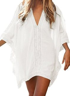 CHERRY CAT Oversized V-neck Swimsuit Beach Cover ups Cut Loose Plus Size Clothing Beach Dresses Kaftan Women's Bathing Suit Cove Ups Beach Outfits Lace Crochet Swim Wear Bikini Cover-ups Beach...
