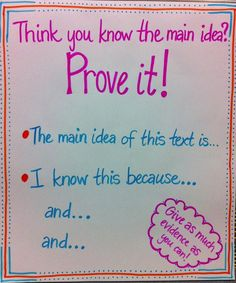 Anchor poster main idea CCSS RI.7.2- determine 2 or more central ideas and analyze development over course of the text