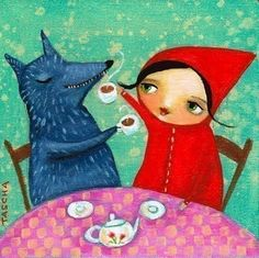 Friends - TEA TIME with red riding hood and wolf print from original painting by TASCHA