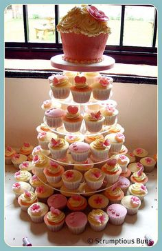 Cupcakes tower, I love the giant one on top... I have the pan :)