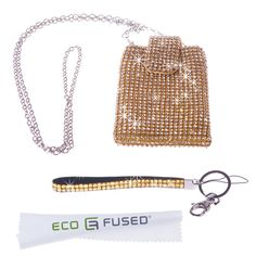 """Amazon.com: *BLING* Sparkling Rhinestone Gold Purse, Carrying Case, Phone Pouch / One Gold *Rhinestone* Short Lanyard for Apple iPhone 5, iPhone 4, iPhone 4s, iPhone 3, 3s, iPod Touch 4, 4th, iPod Touch 5, 5th, iPod Nano, Samsung Galaxy S3, S2, HTC one X - ECO-FUSED® Microfiber Cleaning Cloth 5.5x3.0"""" included (Fits Most SmartPhones): Cell Phones & Accessories"""