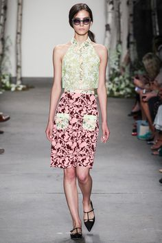 Honor Spring 2014 Ready-to-Wear: sheer cropped halter top, straight skirt, w/ matching contrast