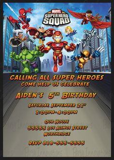 Printable Super Hero Squad Birthday Party by PartyInnovations09