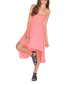 0efbdda82 Look what I found on  zulily! Neon Pink Shirred Strapless Hi-Low Dress