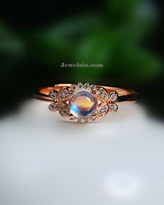 rose gold blue moonstone dainty promise ring for her - Jewelry fashion - http://amzn.to/2hA2iqN