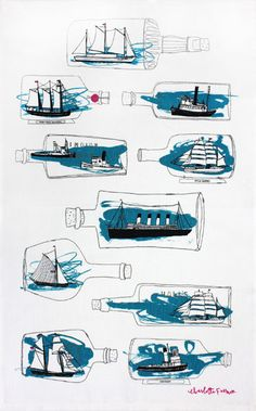 Ship Ahoy tea towel - Designer tea towels from ToDryFor.com