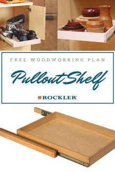 Install a pullout shelf to add convenient access to all of the contents in your base cabinet. Download our free pullout shelf plan to build a custom-sized pullout shelf for your cabinet here! #CreateWithConfidence #pulloutshelf #freeplan #woodworkingplan #shelf Cool Woodworking Projects, Diy Woodworking, Workshop Organization, Kitchen Hardware, Base Cabinets, Crafts To Sell, Storage Solutions, Diy Gifts, Helpful Hints