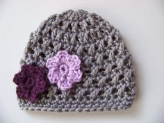 Baby Girl Hat crochet, Baby Hat, Gray with Purple Flowers 0 to 3 months. $20.00, via Etsy.