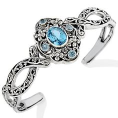 3.4Ct Blue Topaz Ocean Sterling Silver Cuff Bracelet - Click for More...