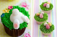 How can you resist these super cute bunny butt cakes ? Click the image to be surprised by our 20+ amazing Easter dessert projects . #diy #food #easter