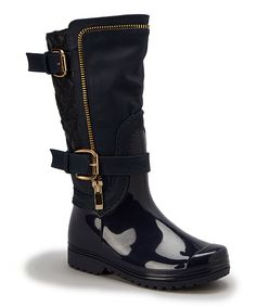 Look at this Henry Ferrera Navy & Gold Quilted Rain Boot on #zulily today!