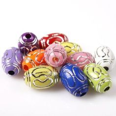 70x 112596 Mixed New Print Silvery Circles Charm Oval Acrylic Spacer Beads Lots