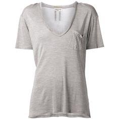 Saint Laurent basic T-shirt ($145) ❤ liked on Polyvore featuring tops, t-shirts, shirts, tees, grey, basic tee shirts, grey t shirt, t shirts, basic t shirt and short sleeve t shirt