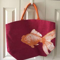 Beach Bag Tote Burgundy Red Canvas Orange Fish Huge Design Large Size | eBay