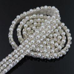 1 jarda delicado Strass Pérola do falso Guarnição Applique vestido de casamento nupcial Craft