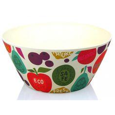 Bol, ensaladera o frutero de madera de bambú reciclada y estampada, de 25 cm de diámetro. Estilo práctico para tu mesa y cocina.