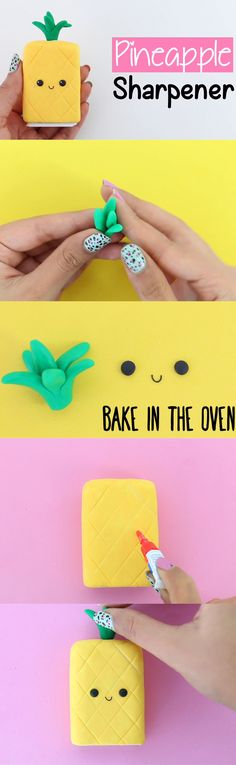 Pineapple sharpener part 4 Cute Crafts, Easy Crafts, Diy And Crafts, Easy Diy, Crafts For Kids, Nim C, Crea Fimo, Deco Cool, Kawaii Diy