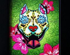 Slobbering Pit Bull Day of the Dead Sugar Skull Dog Art Print - 8 x 10