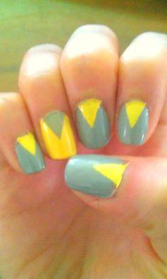 Gray and yellow nails :)  #CynthiaHsia