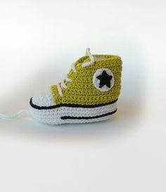 Lemon green crochet baby sneakers Baby crochet by KrissiCrochets