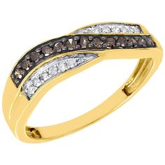 10K Yellow Gold Brown & White Diamond Wave Anniversary Ring Wedding Band 0.25 Cttw. Ladies Diamond Wedding Band. Item in image is smaller than it appears. It is enlarged to show details. Picture on hand will give a very good idea of true size. Available in size 7, We do offer sizing. Round Cut with Shared Prong Settings. 10K Yellow Gold, I2 - I3 Clarity, I - J Color, Approximately 1.5 grams. Comes with Appraisal Certificate (insurance purpose) and Gift Box, 100% satisfaction guaranteed…