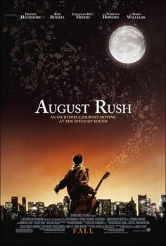 "August Rush on DVD March 2008 starring Freddie Highmore, Robin Williams, Jonathan Rhys-Meyers, Keri Russell. ""August Rush"" tells the story of a charismatic young Irish guitarist (Jonathan Rhys Meyers) and a sheltered young cellist (Keri Ru August Rush, Freddie Highmore, Jonathan Rhys Meyers, Rush Movie, See Movie, Movie Film, Keri Russell, Film Music Books, Music Tv"