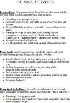 Calming activities (for use with those with autism as well as other developmental disabilities )