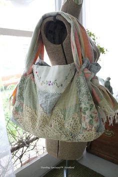 Large Tote Bag made Recycled Pillowsham, Wool Blanket and Vintage Doilies.  Floral.  Granny Chic.  Shabby Chic. $35